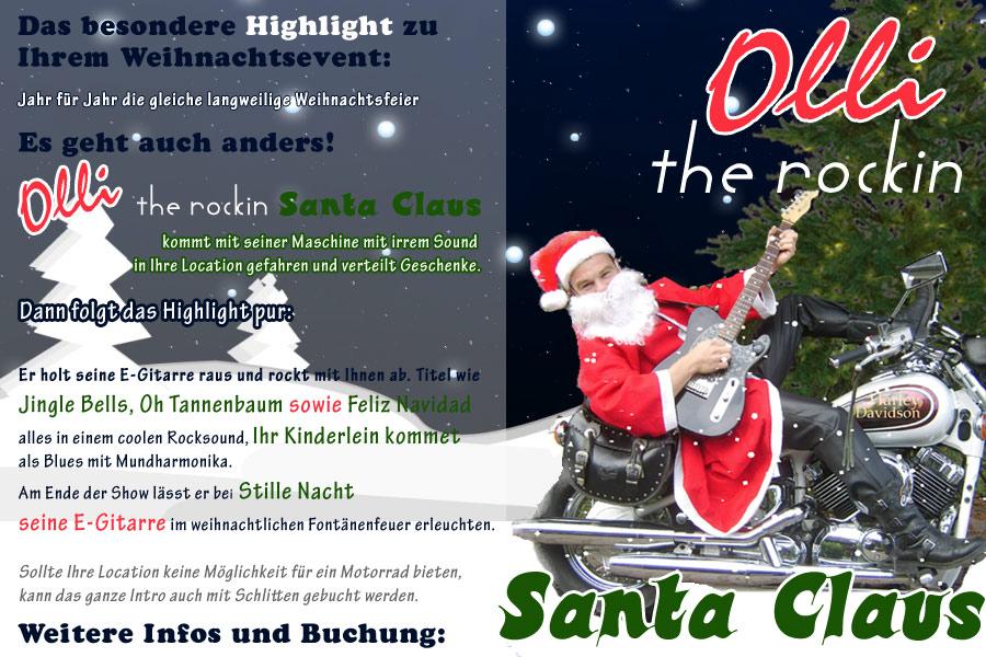 Weihnachtsfeier mit Alleinunterhalter Olli Steudter - the rockin Santa Claus